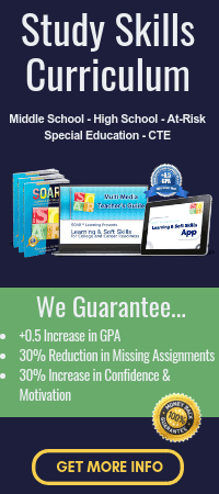 Advertisement for SOAR Study Skills Curriculum - availabe in online and print versions